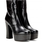 Candy Stud-Trim Leather Platform Booties in Noi